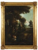 French school, 19th centuryLandscape with the penitent MagdaleneOil on canvasLabel for