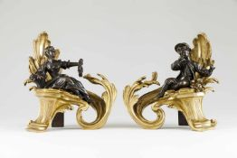 A pair of firedogsGilt and patinated bronzeDecorated with pair of courting figuresMarke