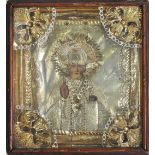 Icône «Saint Nicolas de Myrte» Russie fin XIX° siècle Tempera sur bois, oklad en vermeil, kiot en