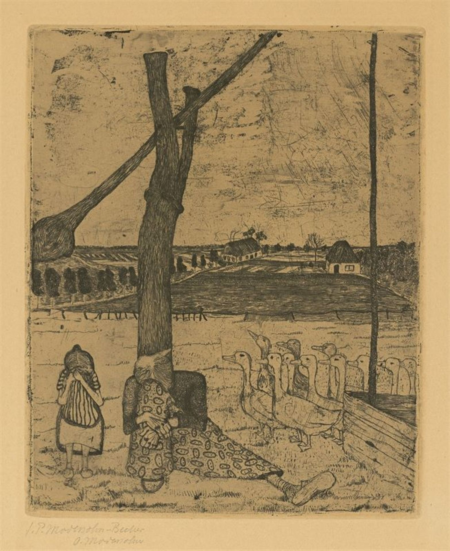 """Los 120 - Paula Modersohn-Becker (Dresden 1876 – 1907 Worpswede)""""Die Frau mit der Gans"""". 19"""