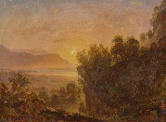 Österreichisch (?), um 1840. Südliche Küstenlandschaft im Abendlicht.