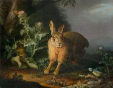 Karl Franz Gruber. Hase mit Disteln und Blaumeise. (Vor) 1841