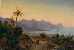 Eugen von Guérard. Südliche Küstenlandschaft mit Palmen. 1844