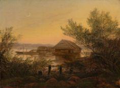 Carl Gustav Carus. Schiffsmühle auf der Elbe bei Dresden. 1826