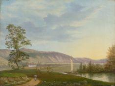 Frederik Michael Ernst Fabritius de Tengnagel. Blick auf die Elbe bei Dresden. 1825