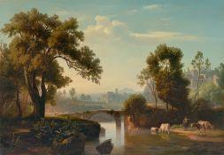Johann Wilhelm Schirmer. Italienische Landschaft mit Hirten. Um 1841