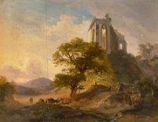 Deutsch, um 1830/40. Landschaft mit Kirchenruine. Um 1830/40