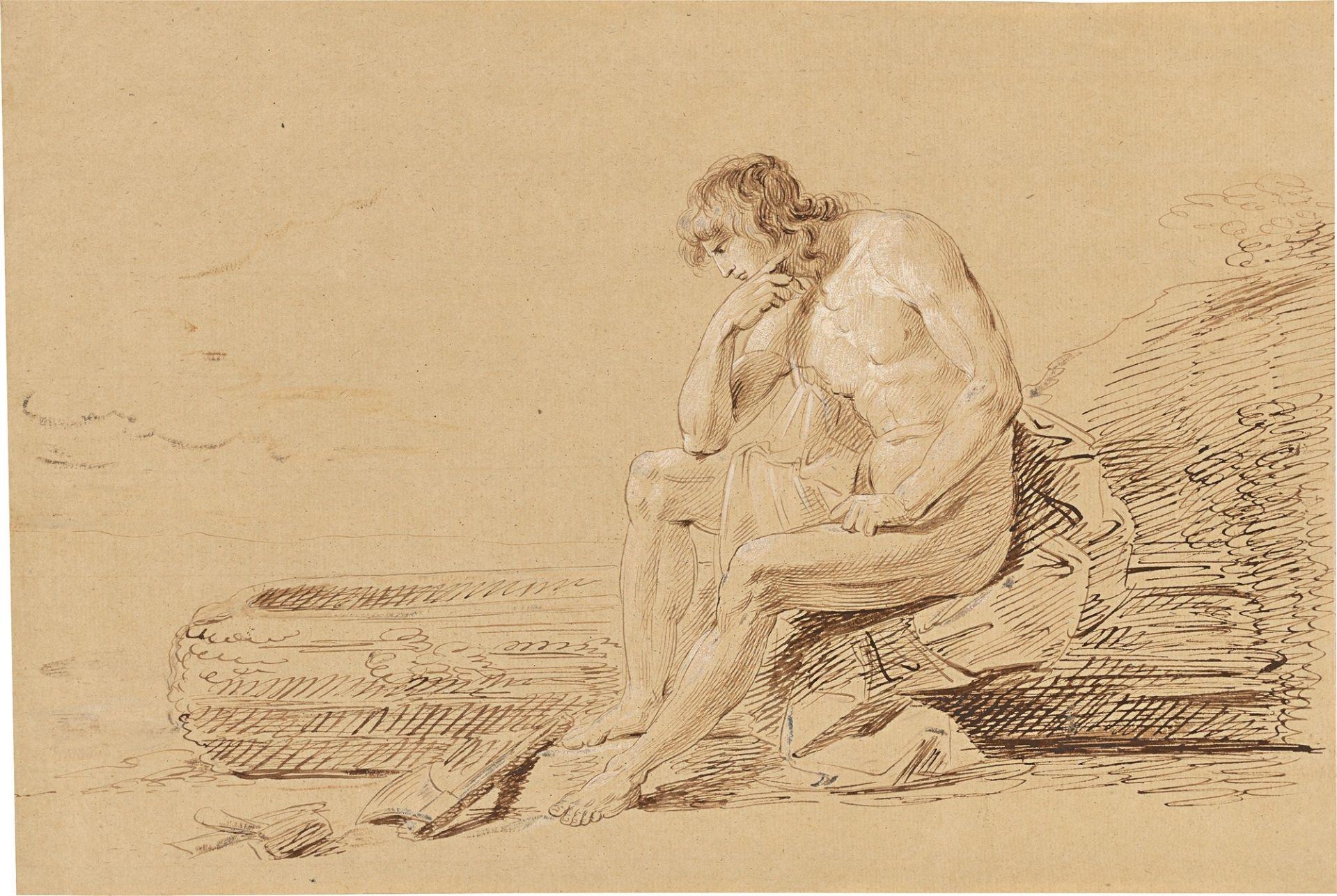 """Johann Heinrich Wilhelm Tischbein, gen. """"Goethe-Tischbein"""". Der Jüngling denkt über den …. Nach 1796"""