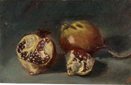 Deutsch, um 1860/80. Stillleben mit zwei Granatäpfeln.