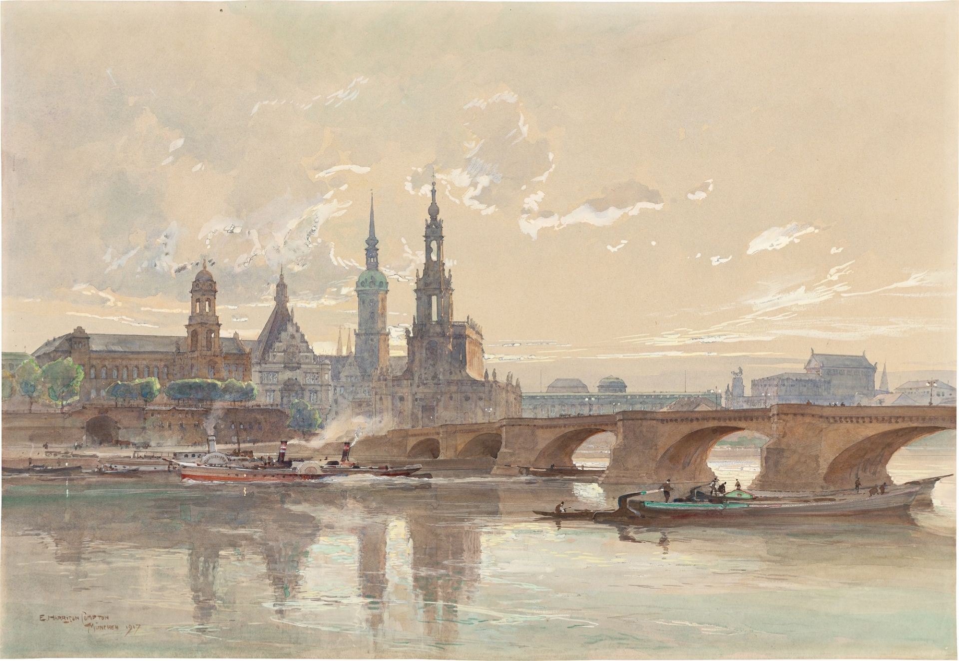 Edward Harrison Compton. Blick über die Elbe auf Dresden mit Schloss und Katholischer Hofkirc…. 1917
