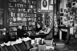 "Gisèle Freund. ""James Joyce in Sylvia Beach's bookshop ""Shakespeare & Co"", rue de l'Odéon, wi…."
