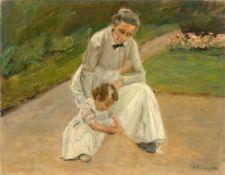 """Max Liebermann. """"Enkelin und Kinderfrau beim Spielen im Garten"""". 1919"""