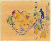 Christian Rohlfs. Stillleben mit Früchten und Flaschen. 1918