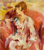 "Wilhelm Kohlhoff. ""Dame, in rotem Sessel sitzend"". Um 1924"