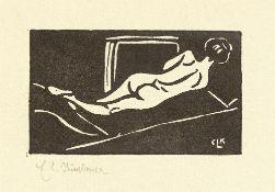 """Konvolut. """"Liegender Rückenakt"""" (Ernst Ludwig Kirchner) / """"Stehender Mädchenakt"""" (Ernst …. 1904/1905"""