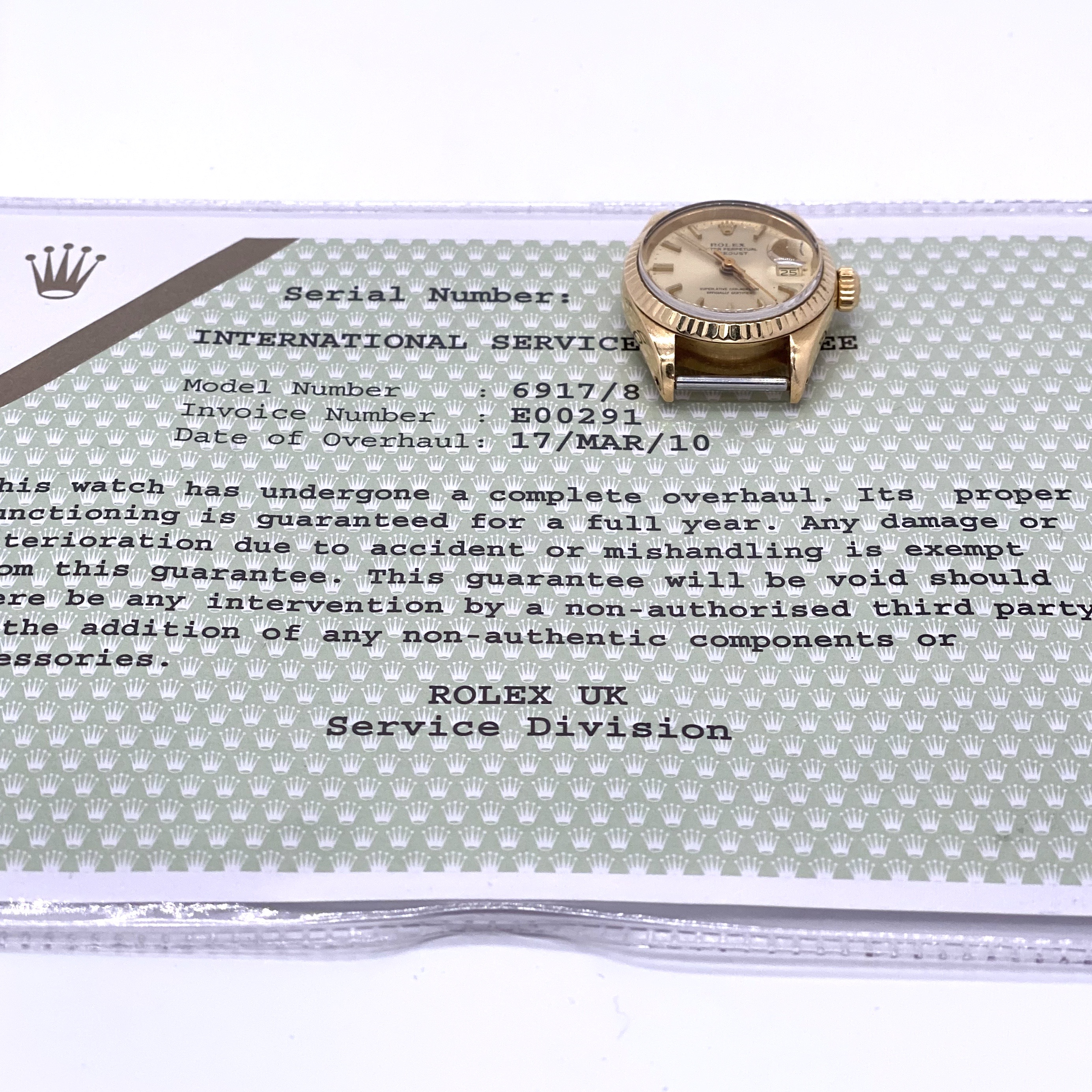 Lot 25 - Rolex Datejust ref 6917/8 18ct with service papers