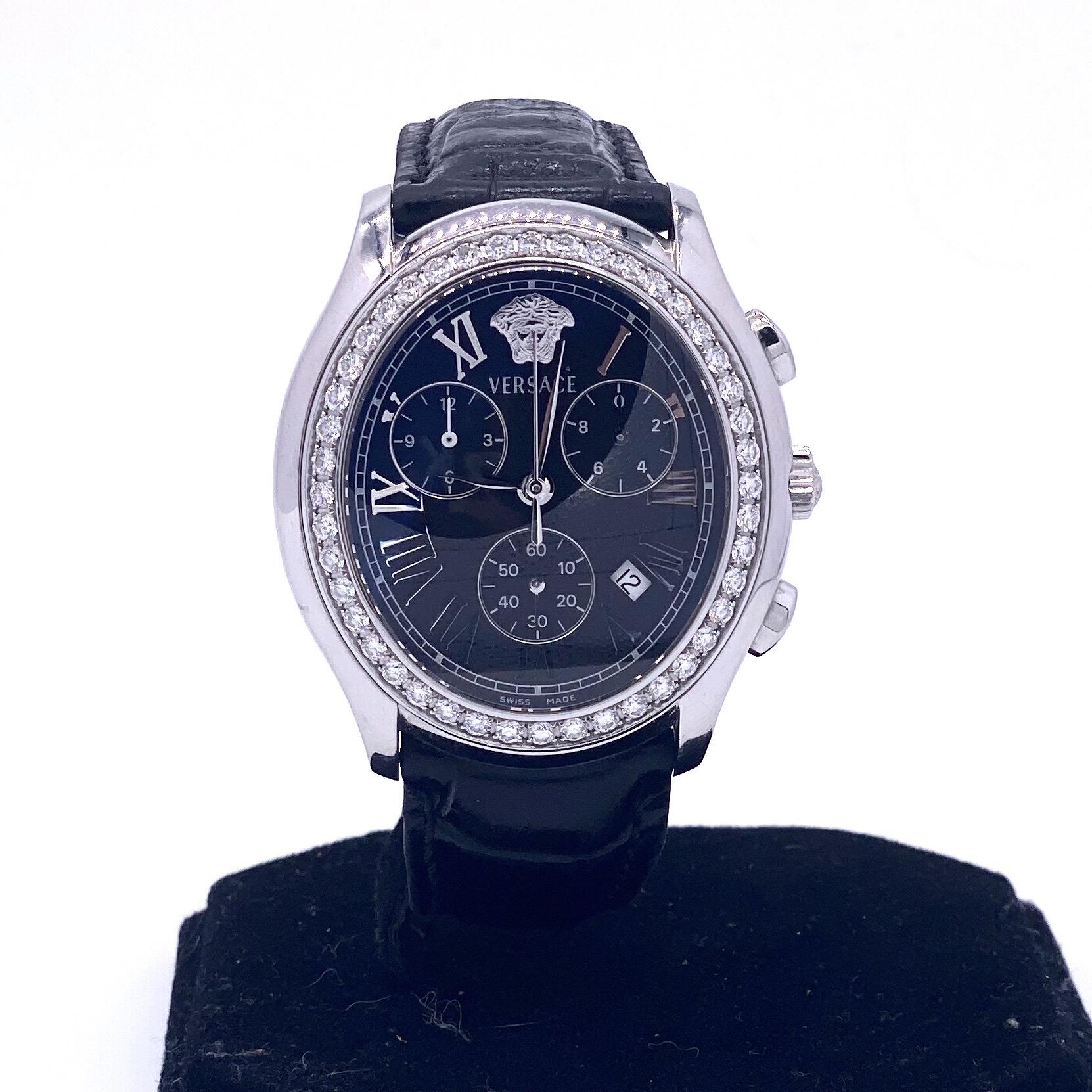 Lot 21 - Versace Chronograph watch with diamond bezel