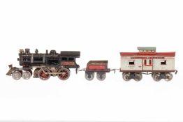 Ives Zug, S 0, elektr., mit 2-B Dampflok, Tender und Caboosewagen, LS und gealterter Lack,