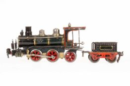 Märklin B-1 Dampflok D 1020, S 0, uralt, Uhrwerk intakt, grün/schwarz, mit Tender, Bremse, v+r und 3