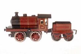 Märklin engl. B-Dampflok 980 LMS, S 0, Uhrwerk intakt, rot/schwarz, mit Tender, tw nachlackiert,