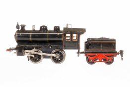 Märklin B-Dampflok R 1020, S 0, Uhrwerk intakt, schwarz, mit Tender Bremse, v+r, und 1 imit.