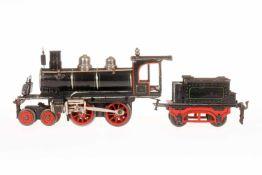 Märklin 2-B Dampflok E 1020, S 0, uralt, Uhrwerk intakt, schwarz, mit Tender, Bremse, v+r und 3