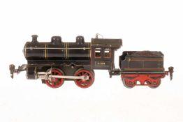 Märklin B-Dampflok R 1020, S 0, Uhrwerk intakt, schwarz, mit Tender, Stirnlampe fehlt, LS tw