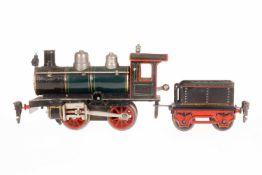 Märklin B-Dampflok R 1020, S 0, uralt, grün/schwarz, mit Tender und 1 imit. Stirnlampe, Uhrwerk