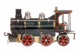 Märklin B-1 Dampflok 1020 D, S 0, uralt, Uhrwerk intakt, grün/schwarz, mit Nase, Bremse und