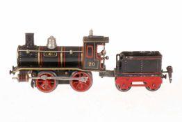 Märklin B-Dampflok 1030, S 0, uralt, schwarz, mit Tender (tw nachlackiert), Bremse und v+r,