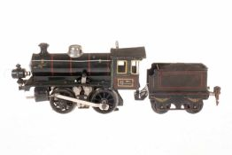 Märklin B-Dampflok, S 0, Starkstrom, schwarz, mit Tender und 1 el. bel. Stirnlampe, LS tw