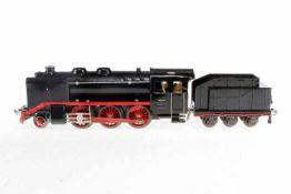 Ditmar 1-C Dampflok, S 0, Uhrwerk intakt, schwarz, mit Tender, NV, bespielt