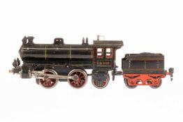 Märklin B-1 Dampflok D 1020, S 0, uralt, Uhrwerk intakt, schwarz, mit Tender, Bremse, v+r und 3