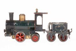 Märklin A-1 Dampflok 1020, S 0, uralt, Uhrwerk intakt, grün/schwarz, Tender mit Gussrädern und