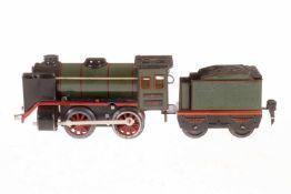Märklin B-Dampflok R 880, S 0, Uhrwerk intakt, oliv/schwarz, mit Tender und kW, LS und gealterter