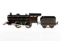 Märklin B-Dampflok 1041, S 1, Uhrwerk intakt, schwarz, mit Tender und Schlüssel, LS tw