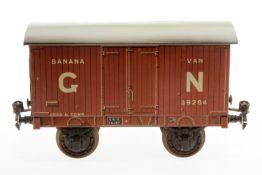 Carette/Bassett-Lowke Bananenwagen 134/22 GNR, S 2, uralt, CL, Dach rest., Fix-Kupplungen, LS und