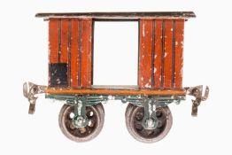 Märklin gedeckter Güterwagen 1803, S 1, uralt, HL, mit 2 TÖ und Gussrädern, LS und gealterter