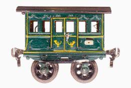 Märklin Postwagen 1802, S 1, uralt, grün HL, mit 2 DT und Gussrädern, gealterter Lack, LS, L 10,5,