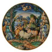 PIATTO IN MAIOLICA POLICROMA, BOTTEGA FONTANA, URBINO, CIRCA 1545