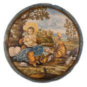 TONDO IN MAIOLICA POLICROMA, BOTTEGA DI CARMINE GENTILI, CASTELLI D'ABRUZZO, CIRCA 1750