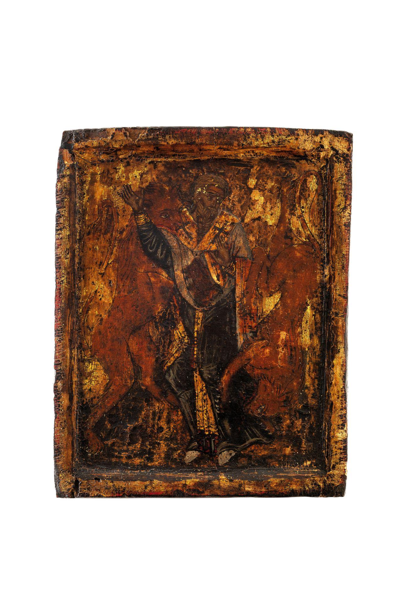 Los 466 - Tempera su tavola; restauri e mancanzecm 24,5x20A GREEK ICON OF ST. IGNATIUS OF ANTIOCH, 18TH...