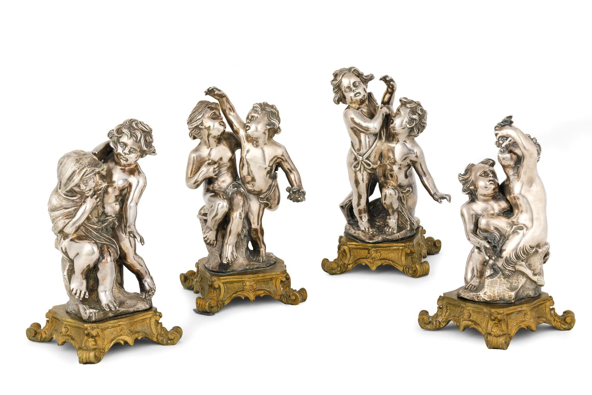 Los 90 - raffiguranti le Allegorie delle Stagioni; usureAlt. cm 24AN ITALIAN GROUP OF FOUR SILVERED BRONZE...