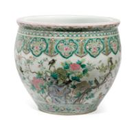 A LARGE CHINESE FAMILLE-ROSE PORCELAIN FISH BOWL, CHINA, 19TH CENTURY