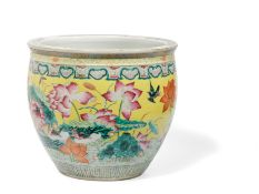 A LARGE FAMILLE ROSE PORCELAIN YELLOW GROUND FISH BOWL, CHINA, 19TH -20TH CENTURY