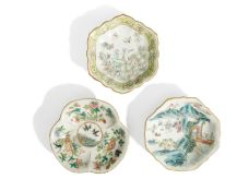 THREE FAMILLE ROSE STEM LOBED DISHES, CHINA, 20TH CENTURY (3)