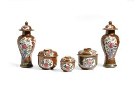 THREE FAMILLE ROSE AND CAFÉ-AU-LAIT PORCELAIN BOXES AND COVERS AND TWO SMALL VASES AND COVERS, CHINA