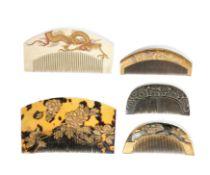 FIVE MISCELLANEOUS MATERIAL COMBS, JAPAN, MEIJI-TAISHO PERIOD (5)