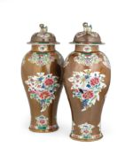 A PAIR OF FAMILLE ROSE PORCELAIN CAFE-AU-LAIT GROUND VASES AND COVERS, CHINA, 18TH CENTURY, QIANLONG