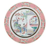 A PAIR OF FAMILLE ROSE PORCELAIN SERVICE ROUND DISHES, CHINA, 18TH CENTURY, QIANLONG PERIOD (2)